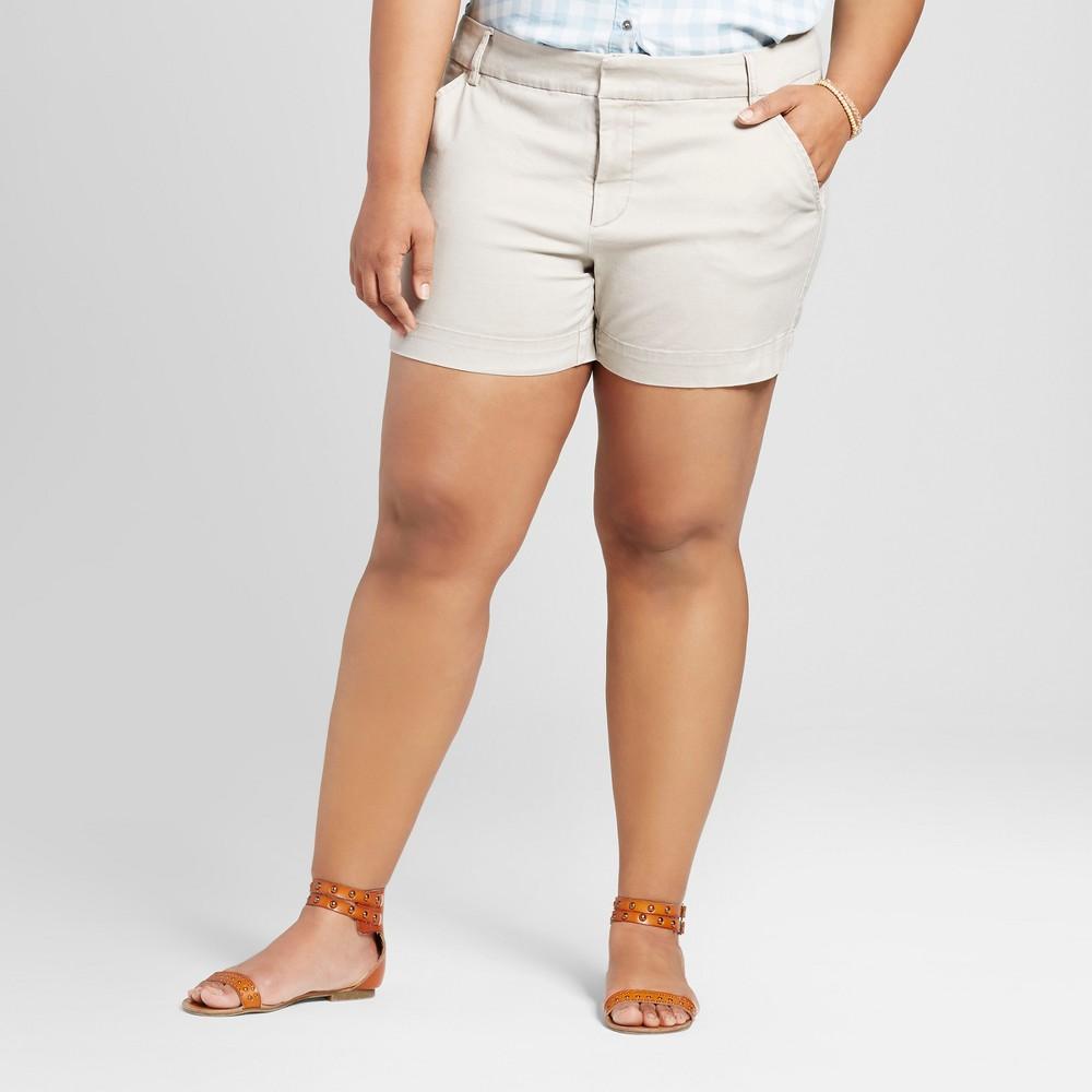 Womens Plus Size 5 Chino Shorts - Ava & Viv Khaki (Green) 26W