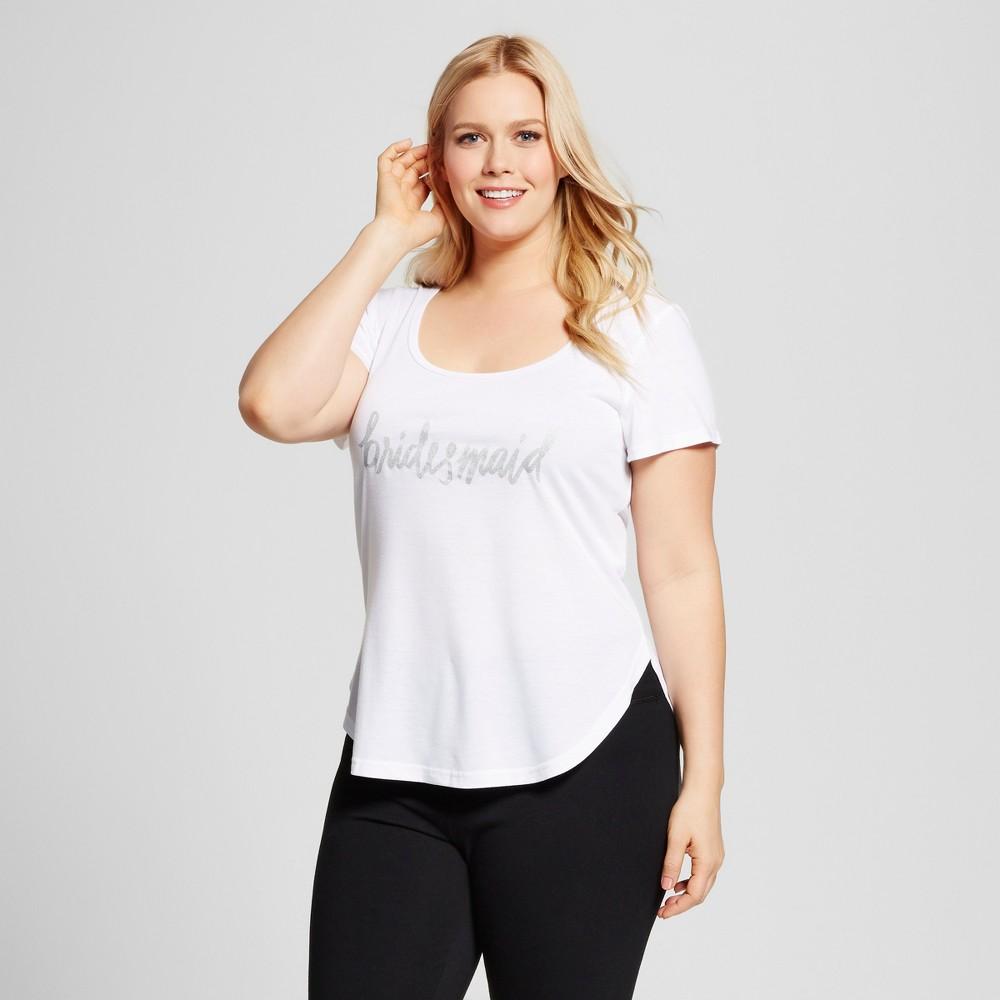 Bride & Beauties by Bedhead Pajamas Womens Plus Size Bridesmaid Sleepwear T-Shirt - White 2X