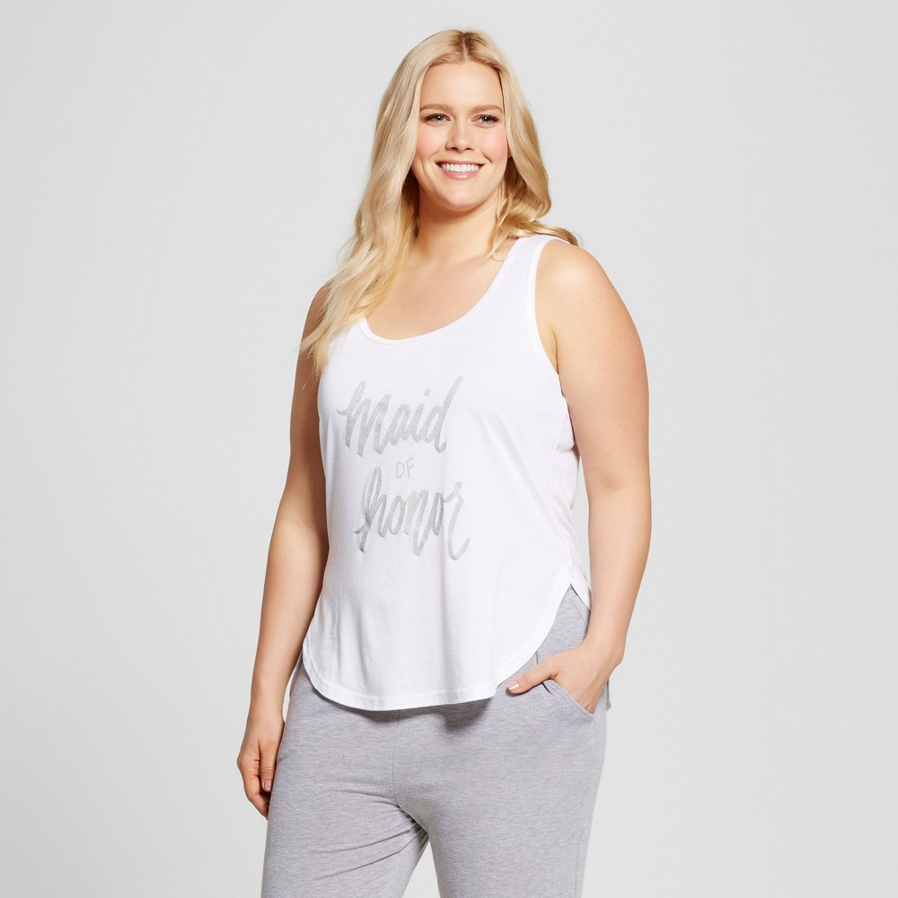 Bride & Beauties by Bedhead Pajamas Womens Plus Size Maid of Honor Sleepwear Tank - White 3X