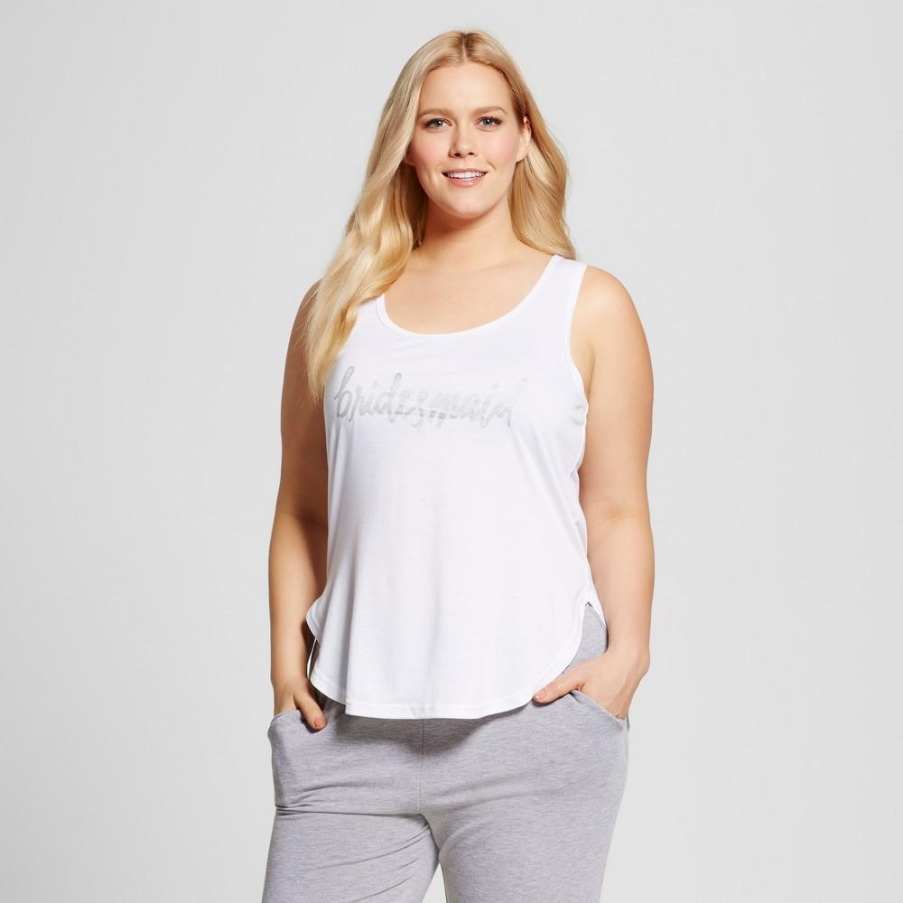 Bride & Beauties by Bedhead Pajamas Womens Plus Size Bridesmaid Sleepwear Tank - White 2X