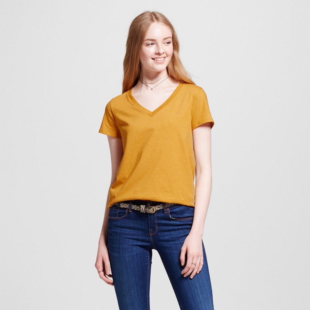 Womens Relaxed V-Neck T-Shirt - Mossimo Supply Co. Gold XS