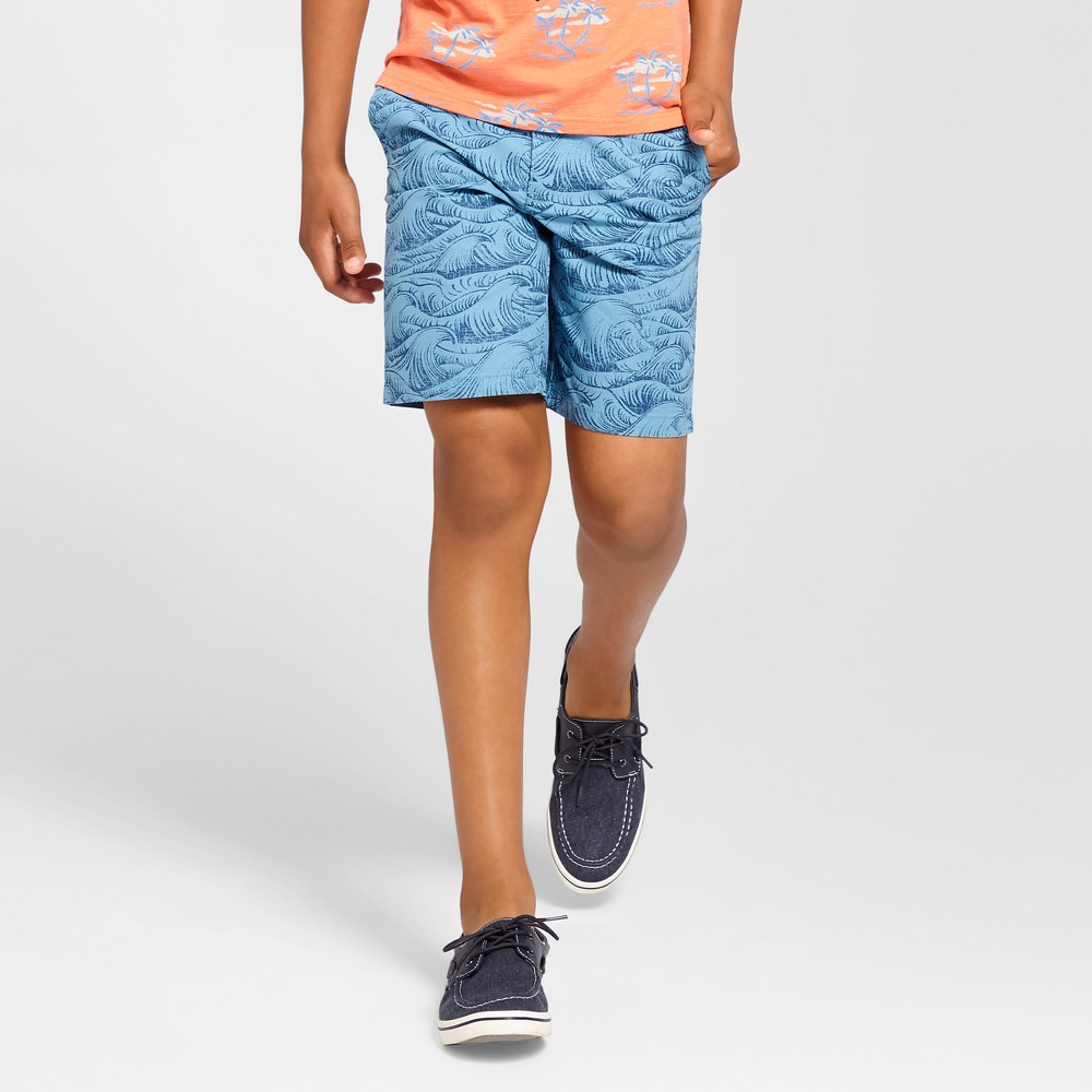 Boys Flat Front Chino Shorts - Cat & Jack Blue Wave 14 Husky