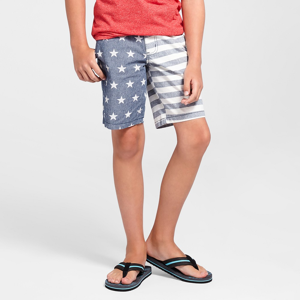 Boys Flat Front Chambray Stars & Stripes Chino Shorts - Cat & Jack Navy 14, Blue