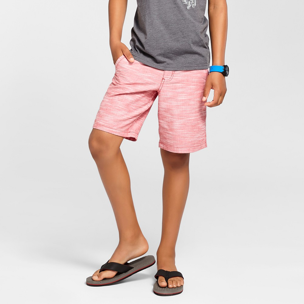 Boys' Flat Front Chino Shorts - Cat & Jack Textured Red 5