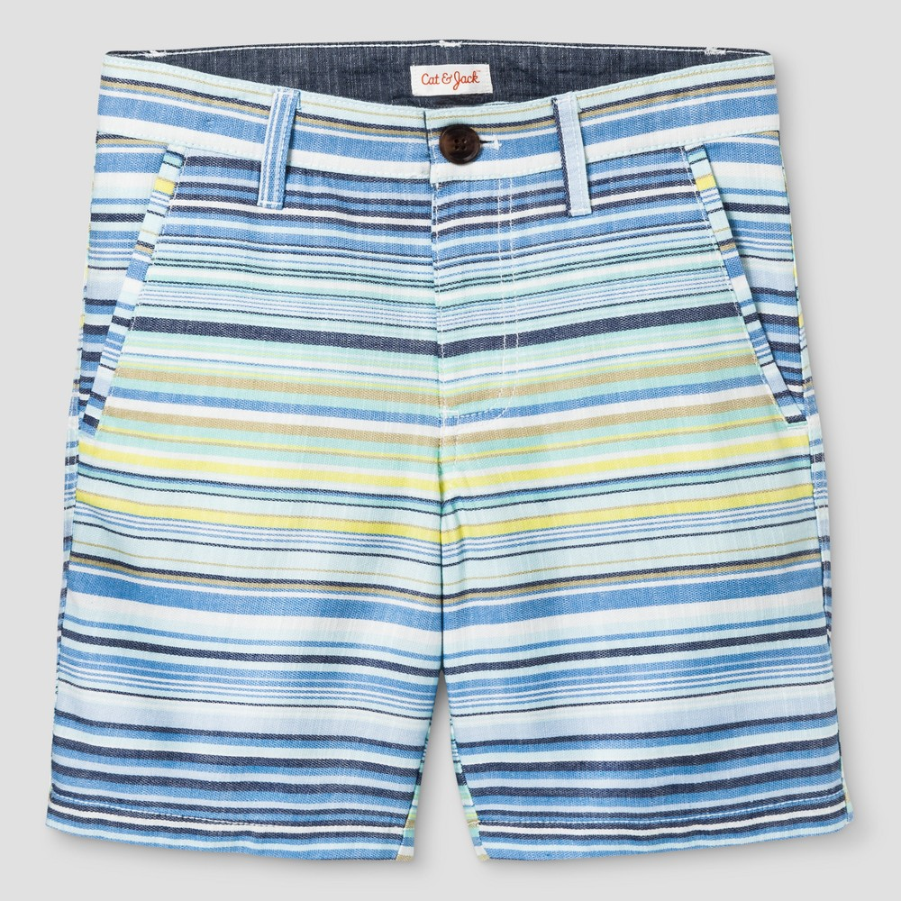 Boys Flat Front Chino Shorts - Cat & Jack Blue Stripe 10 Husky