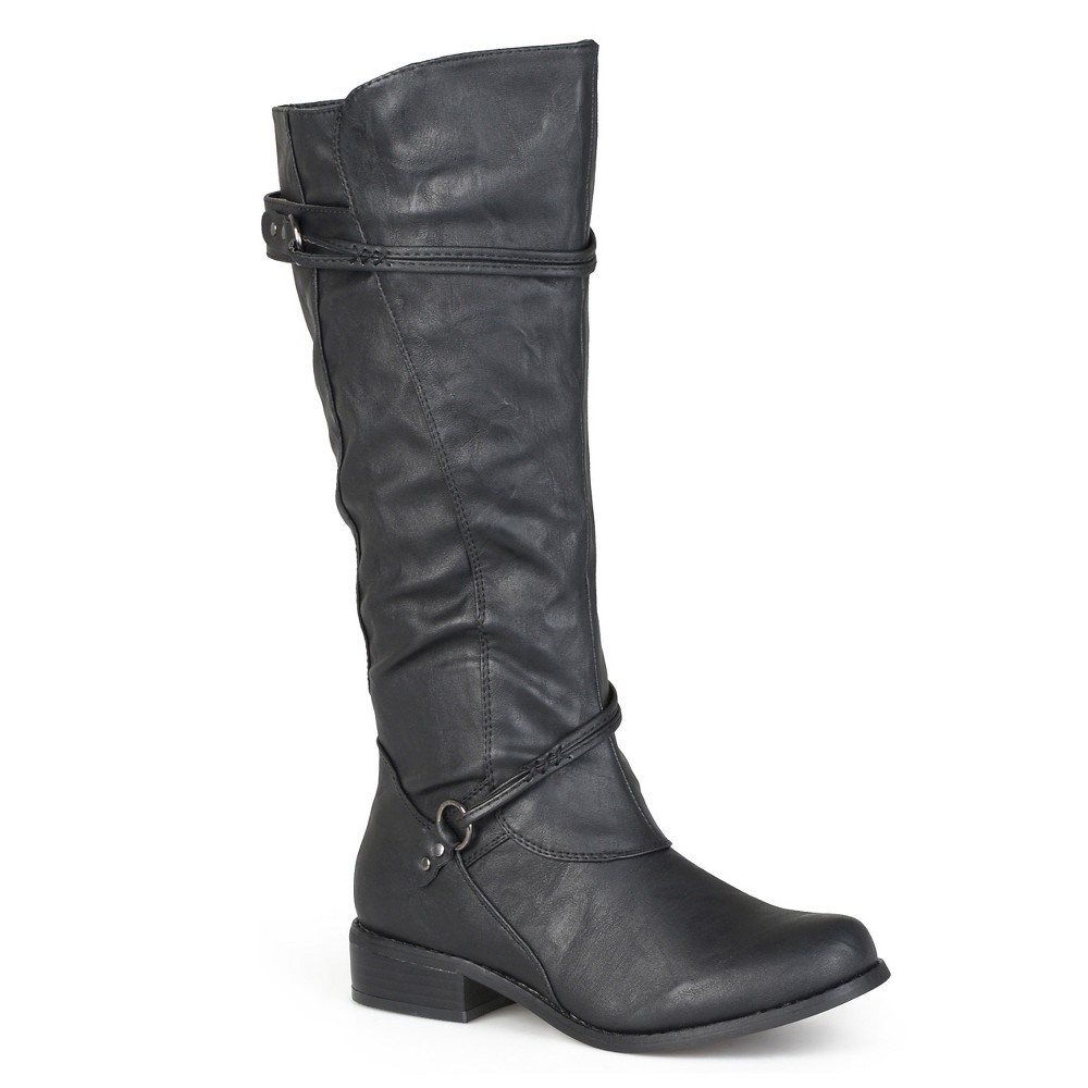 Womens Journee Collection Ankle Strap Buckle Knee-High Riding Boots - Black 8.5