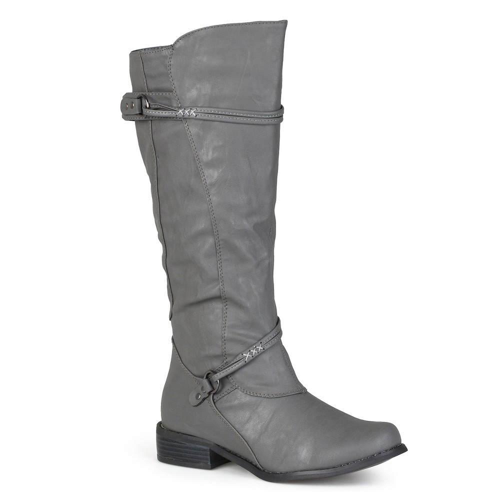 Womens Journee Collection Ankle Strap Buckle Knee-High Riding Boots - Gray 10