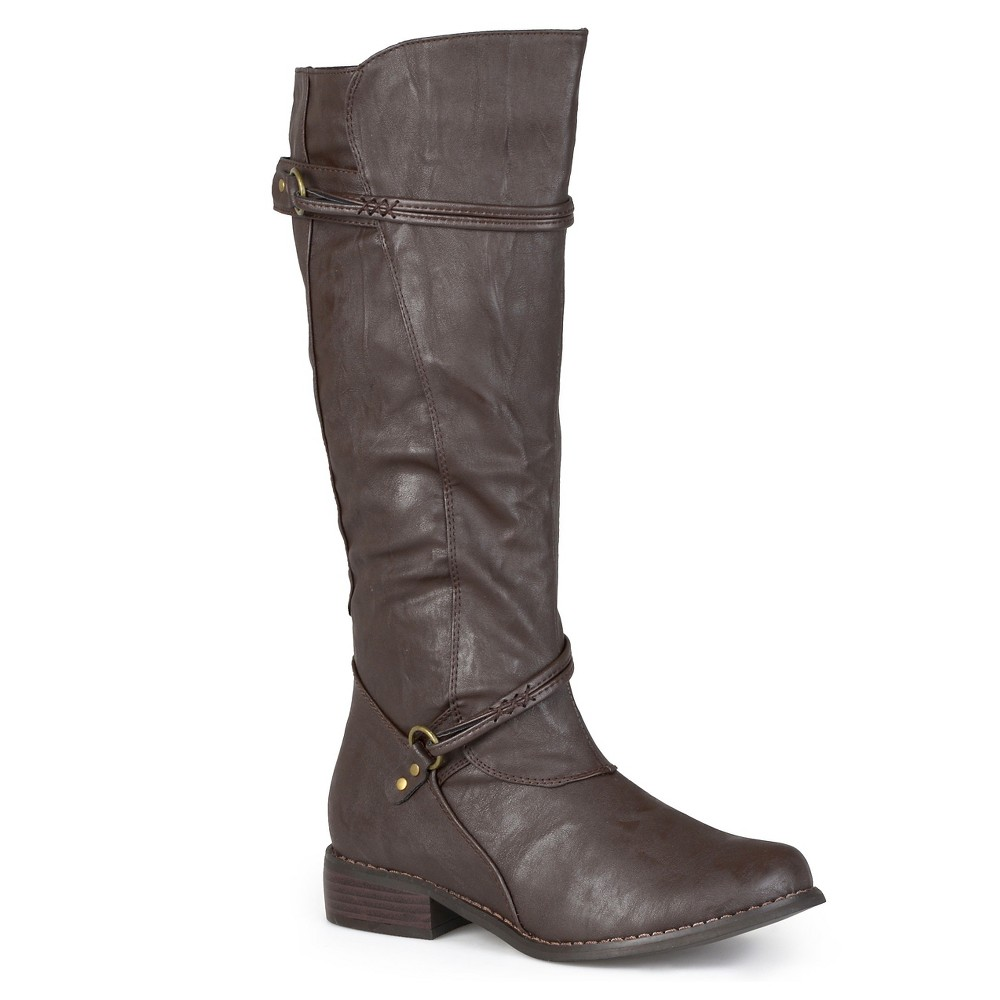 Womens Journee Collection Ankle Strap Buckle Knee-High Riding Boots - Brown 6