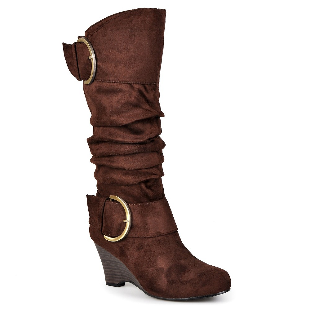 Womens Journee Collection Buckle Slouch Wedge Knee-High Boots - Brown 8.5