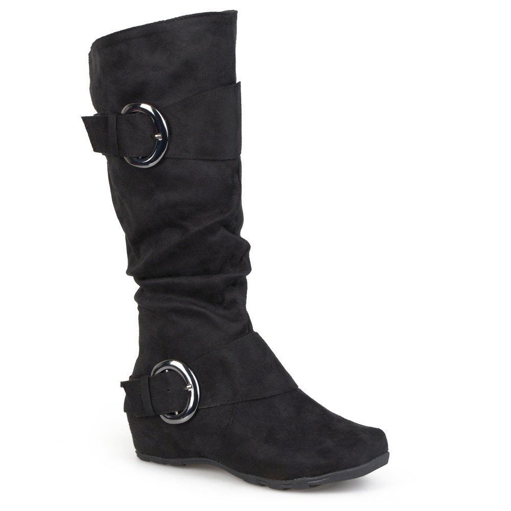 Womens Journee Collection Slouch Buckle Knee-High Microsuede Boots - Black 7.5