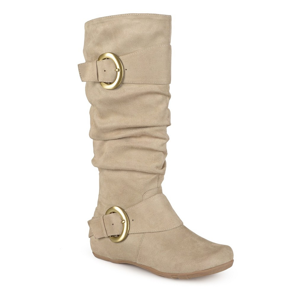Womens Journee Collection Slouch Buckle Knee-High Microsuede Boots - Stone (Grey) 7.5