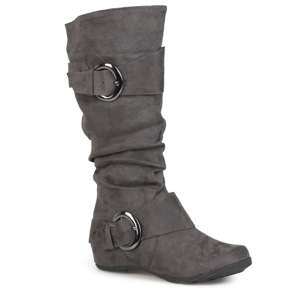 Womens Journee Collection Slouch Buckle Knee-High Microsuede Boots - Gray 7.5