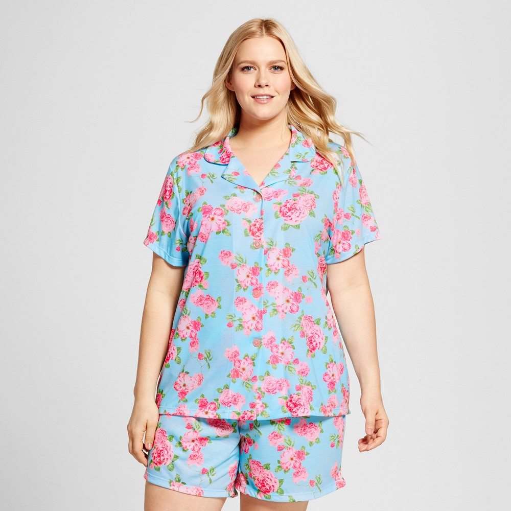 Bride & Beauties by Bedhead Pajamas Womens Plus Size Notch Collar Classic Cabbage Rose Shorty Pajama Set - Blue 2X