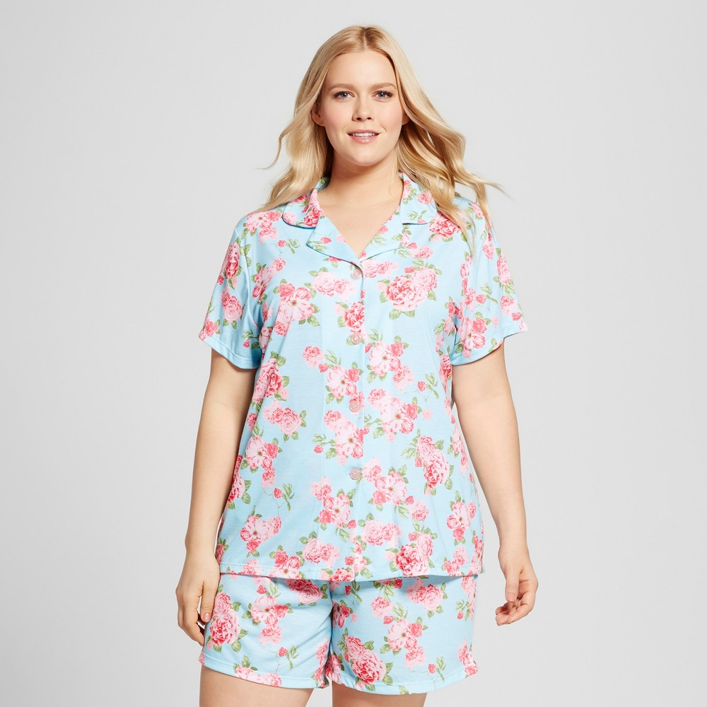 Bride & Beauties by Bedhead Pajamas Womens Plus Size Notch Collar Classic Cabbage Rose Shorty Pajama Set - Blue 3X