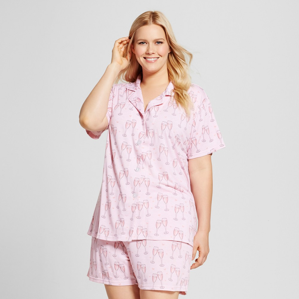 Bride & Beauties by Bedhead Pajamas Womens Plus Size Notch Collar Classic Shorty Pajama Set - Champagne Hearts - Pink 2X