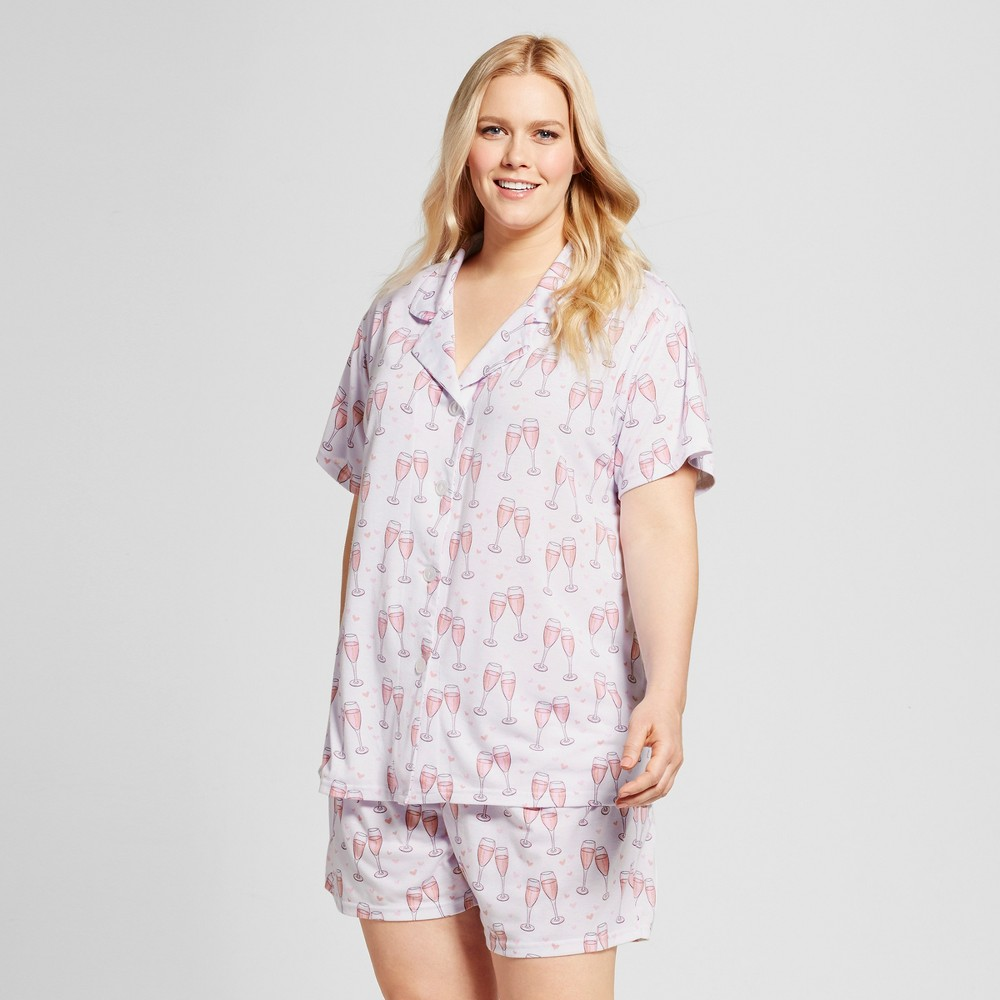 Bride & Beauties by Bedhead Pajamas Womens Plus Size Notch Collar Classic Shorty Pajama Set - Champagne Hearts - White 3X