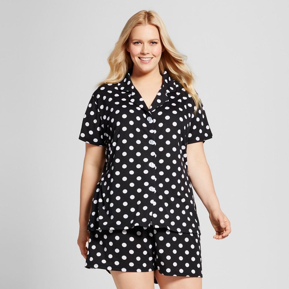 Bride & Beauties by Bedhead Pajamas Womens Plus Size Notch Collar Classic Shorty Pajama Set - Polka Dot - Black/White 2X