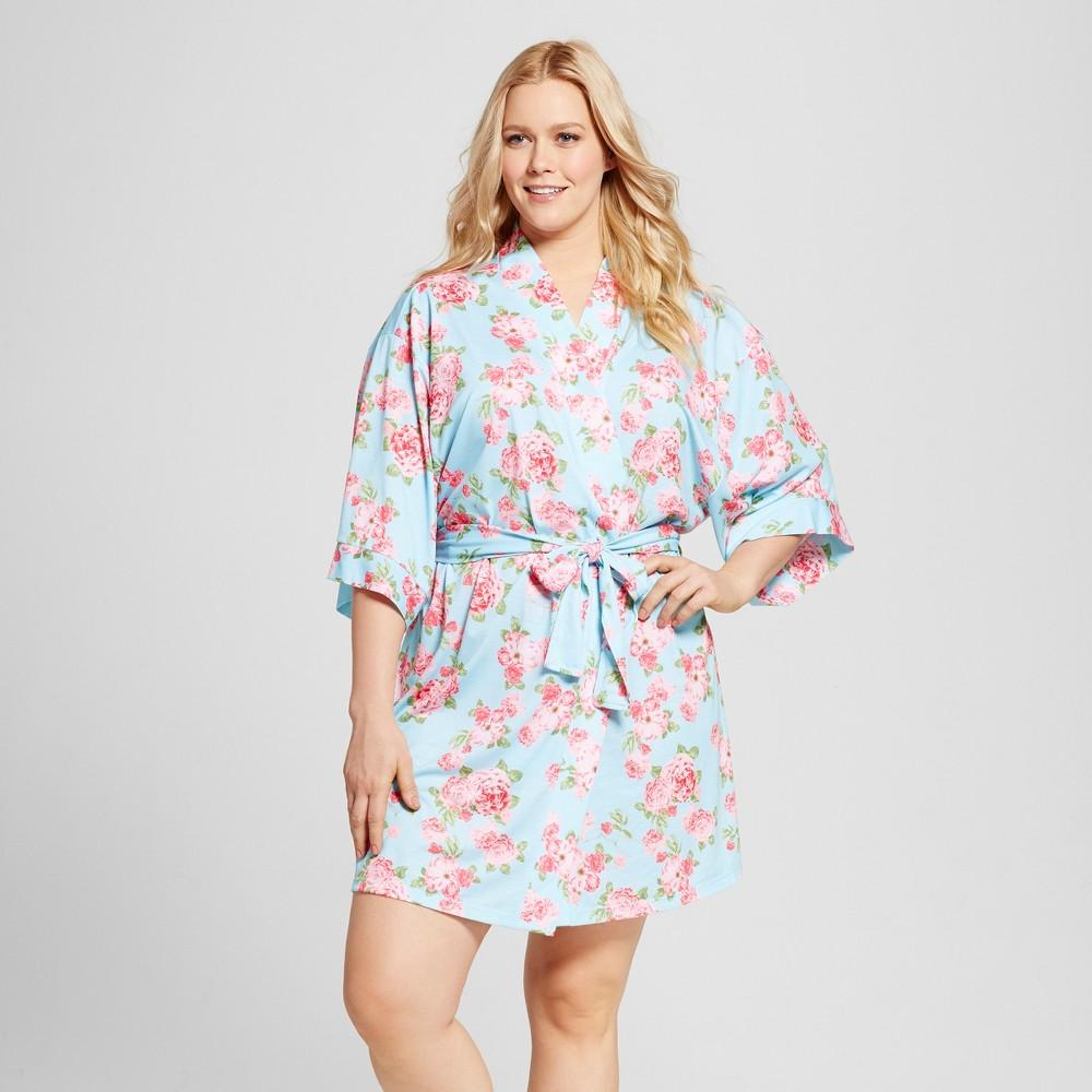 Bride & Beauties by Bedhead Pajamas Womens Plus Size Cabbage Rose Kimono Robe - Blue 3X
