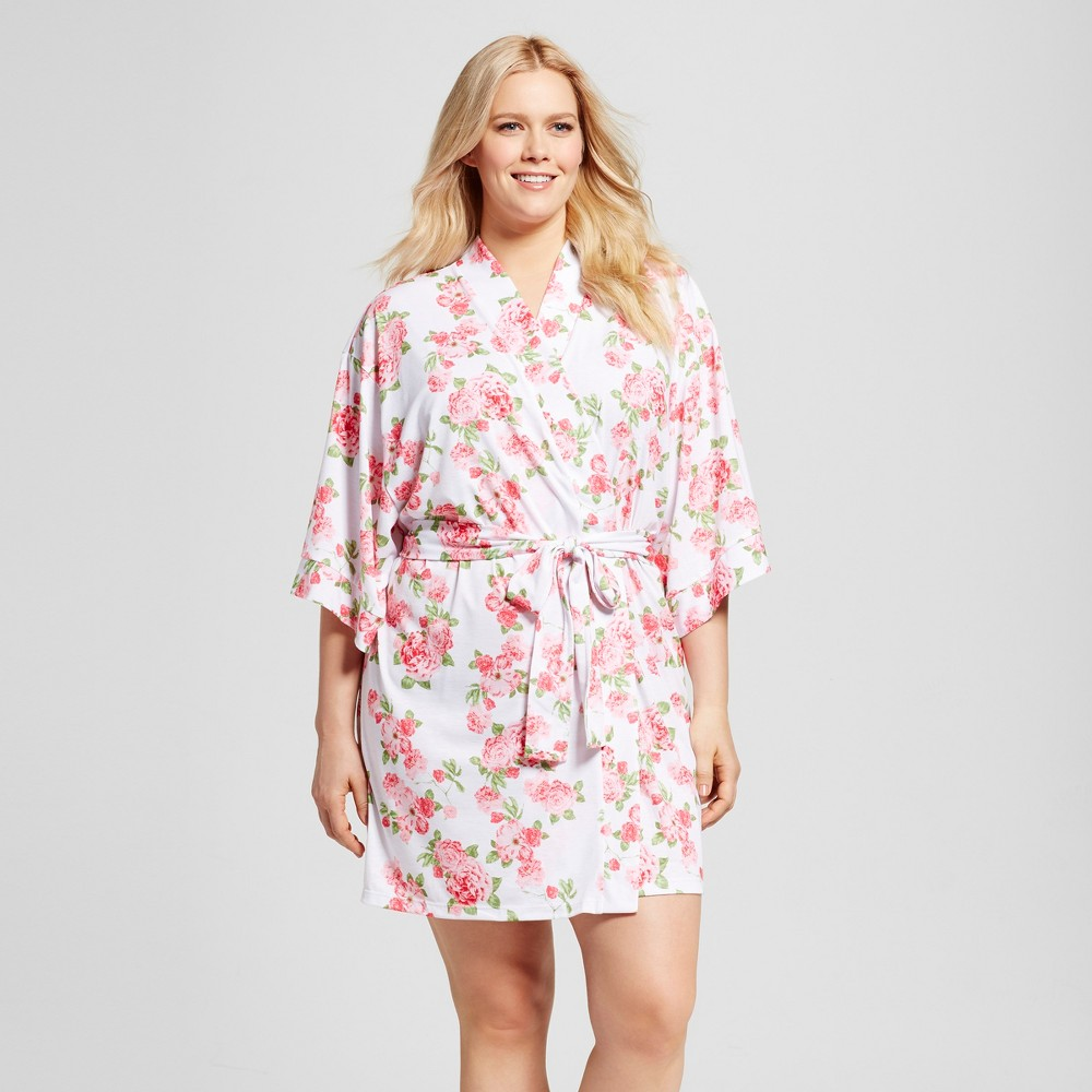 Bride & Beauties by Bedhead Pajamas Womens Plus Size Cabbage Rose Kimono Robe - White 2X
