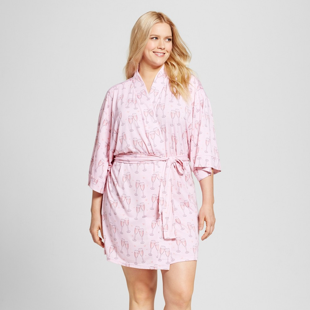 Bride & Beauties by Bedhead Pajamas Women's Plus Size Kimono Robe – Champagne Hearts – Pink 1X