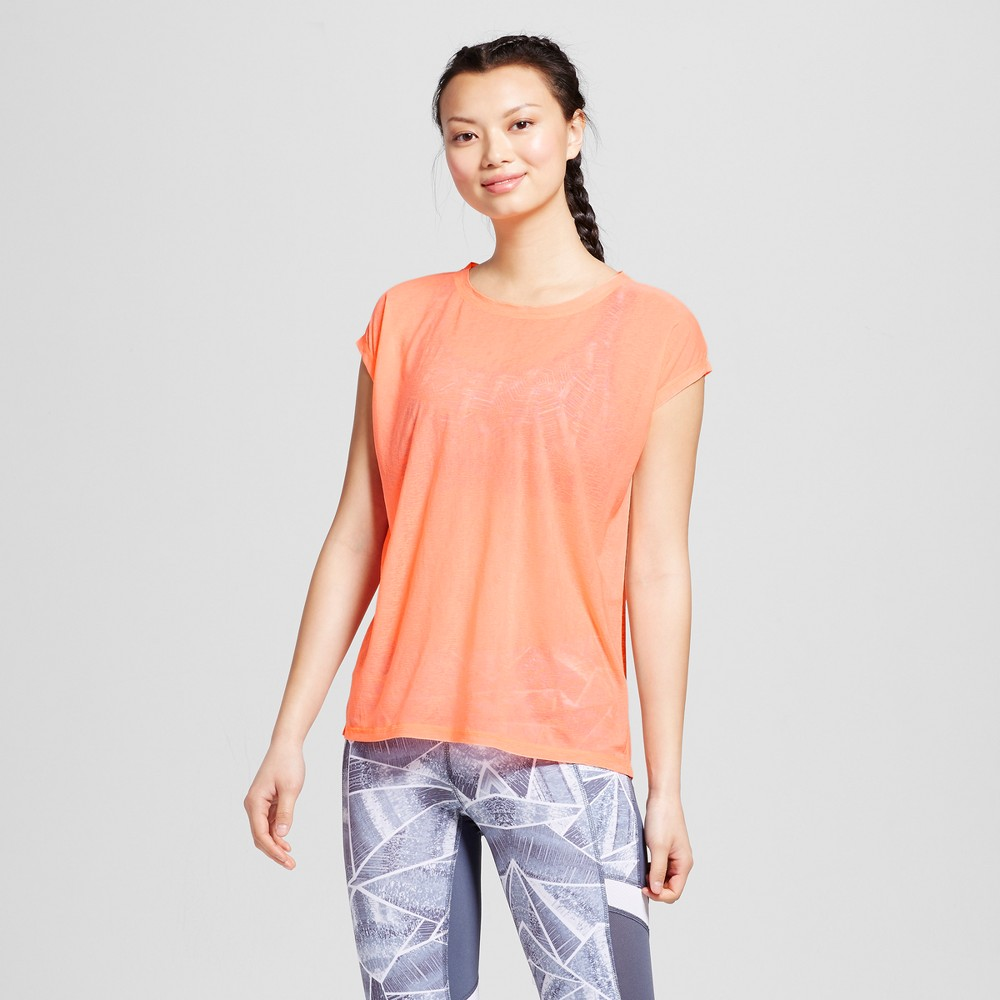 Womens Run Sheer T-Shirt - C9 Champion Coral (Pink) L