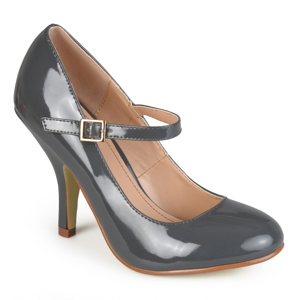 Womens Journee Collection Patent Finish Mary Jane Pumps - Gray 8.5