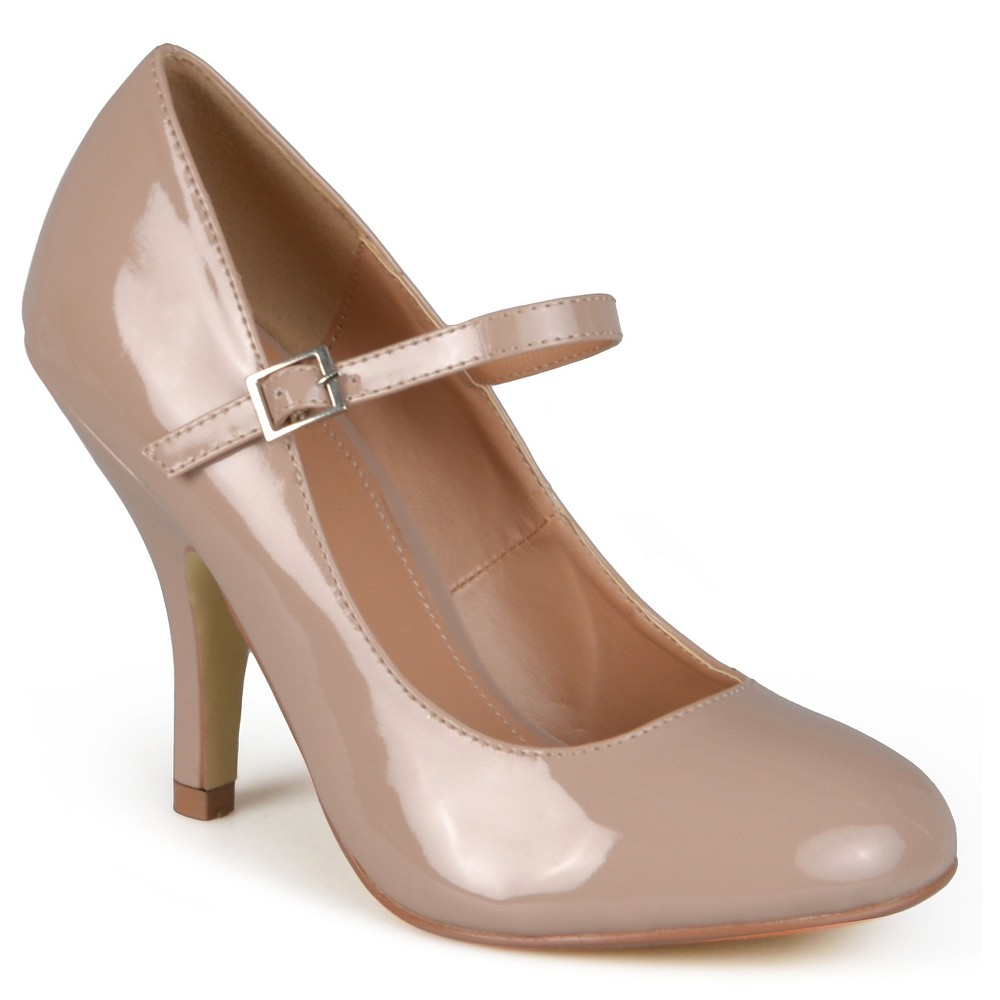 Womens Journee Collection Wide Width Patent Finish Mary Jane Pumps - Nude 8.5W, Size: 8.5 Wide