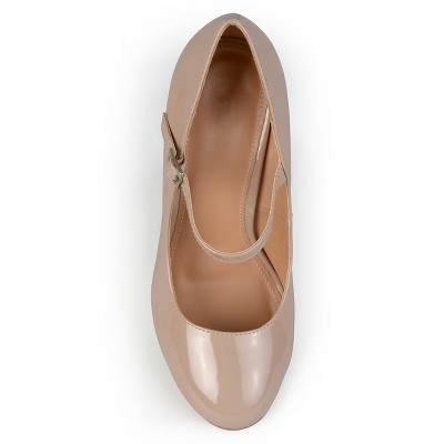 Women's Journee Collection Patent Finish Mary Jane Pumps - Nude 6