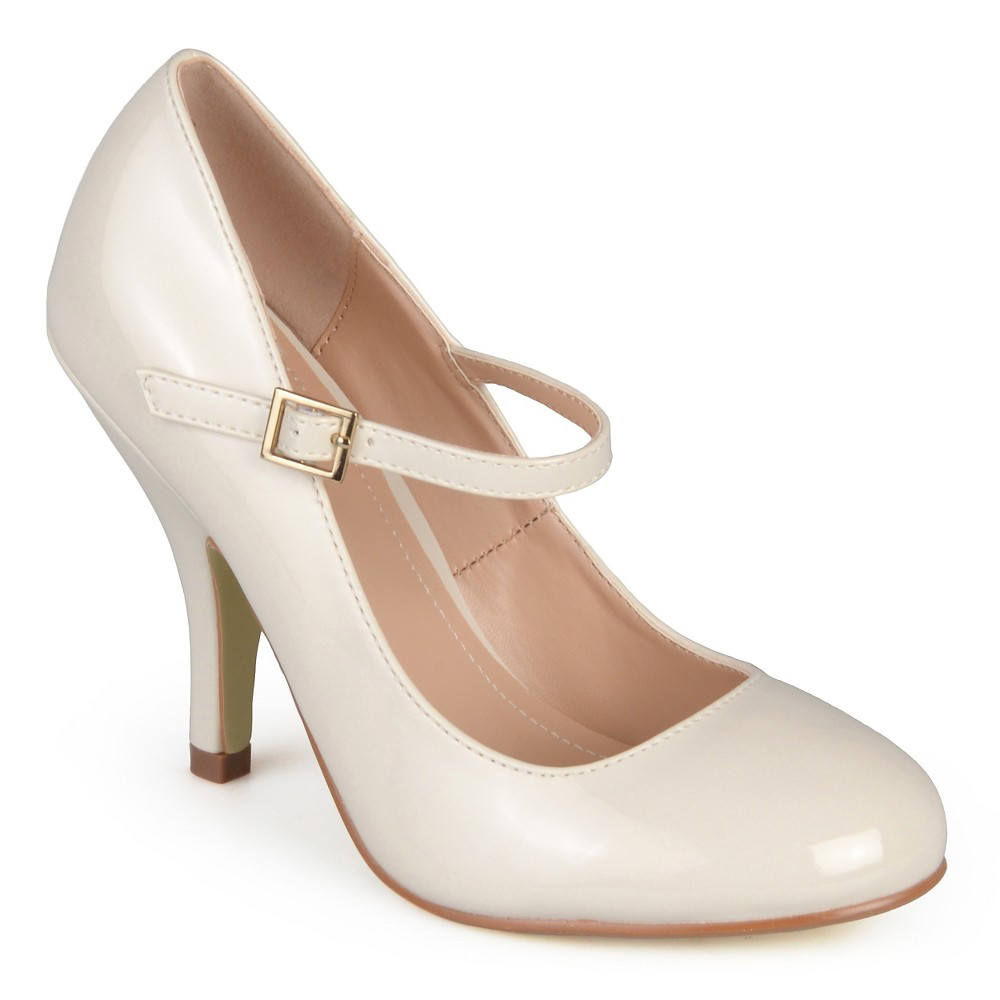 Womens Journee Collection Patent Finish Mary Jane Pumps - Ivory 8.5