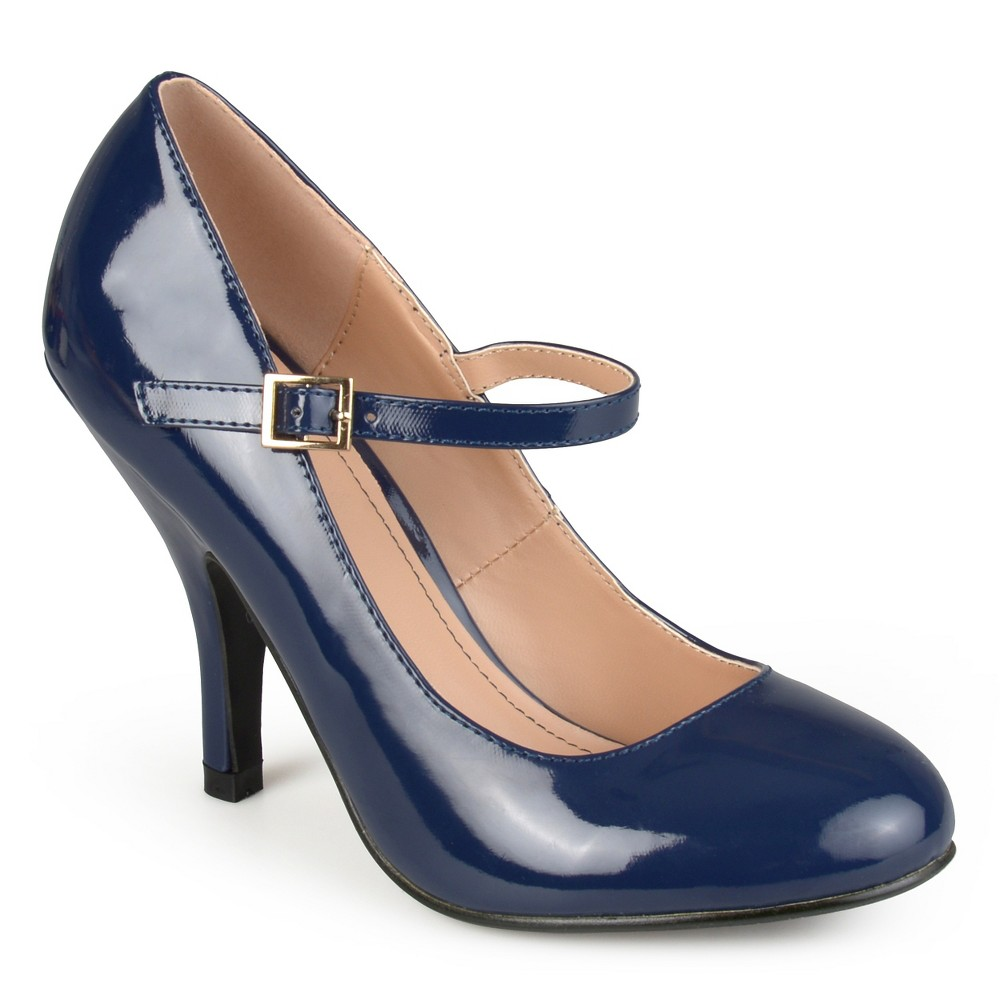 Womens Journee Collection Patent Finish Mary Jane Pumps - Navy (Blue) 8