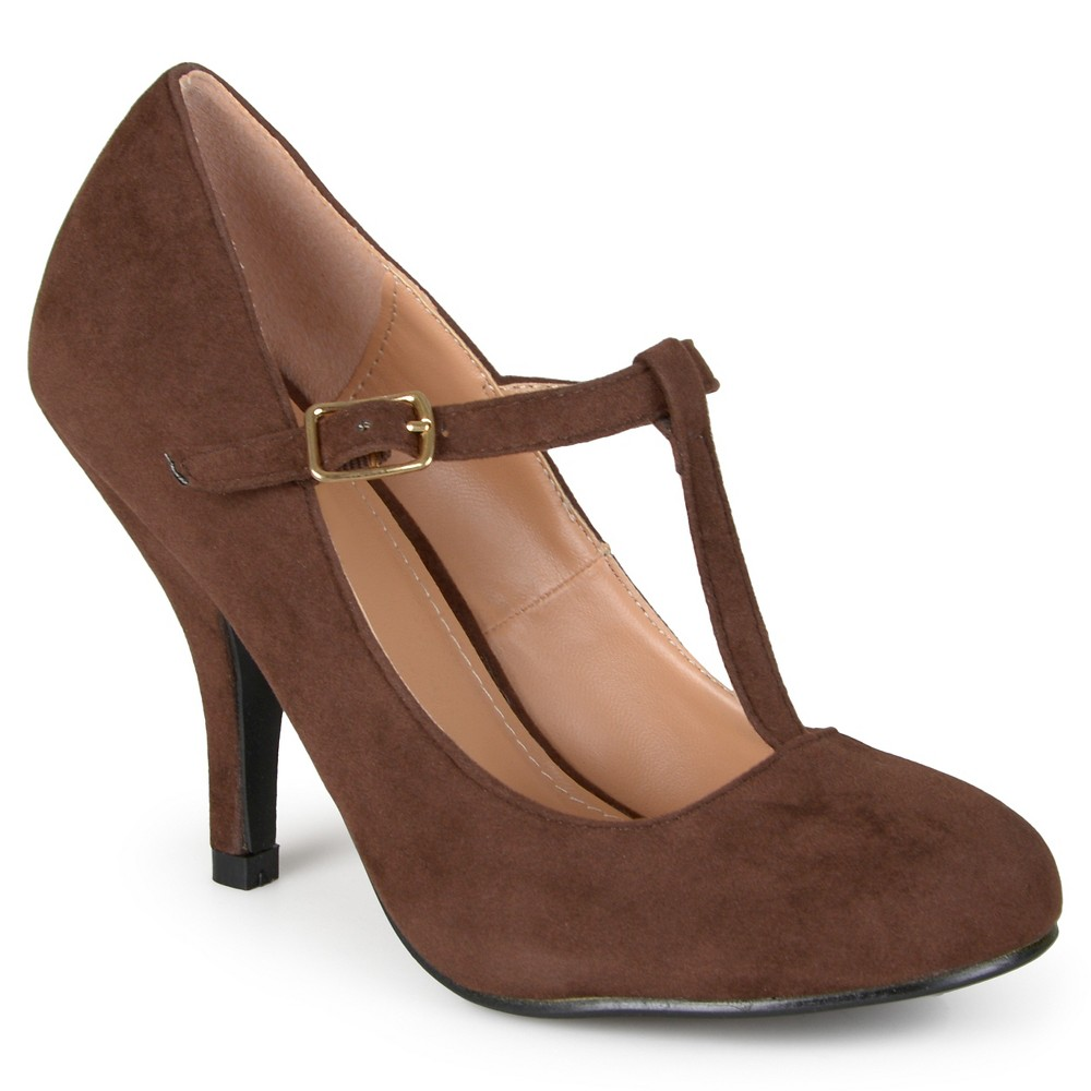 Womens Journee Collection Wide Width Suede T-Strap Mary Jane Pumps - Brown 10W, Size: 10 Wide