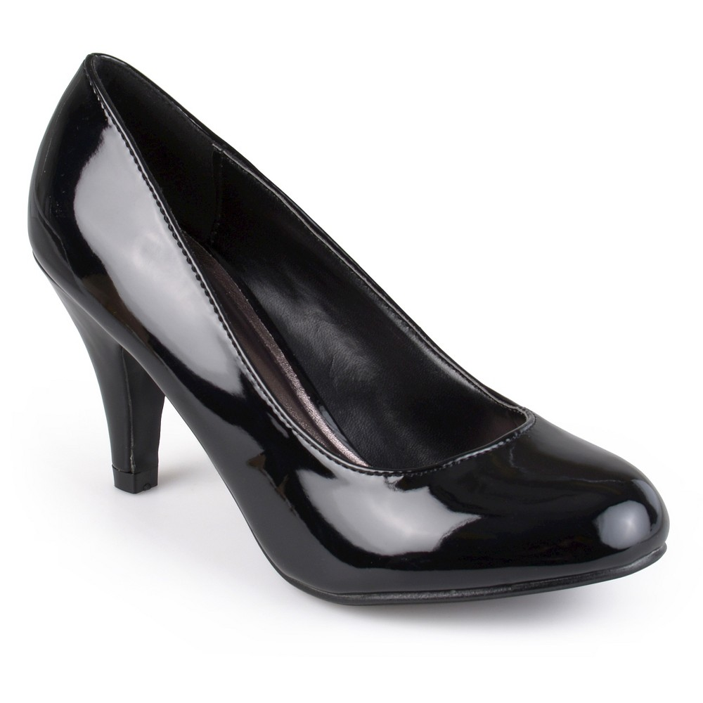 Womens Journee Collection Wide Width Round Toe Patent Finish Pumps - Black 8W, Size: 8 Wide