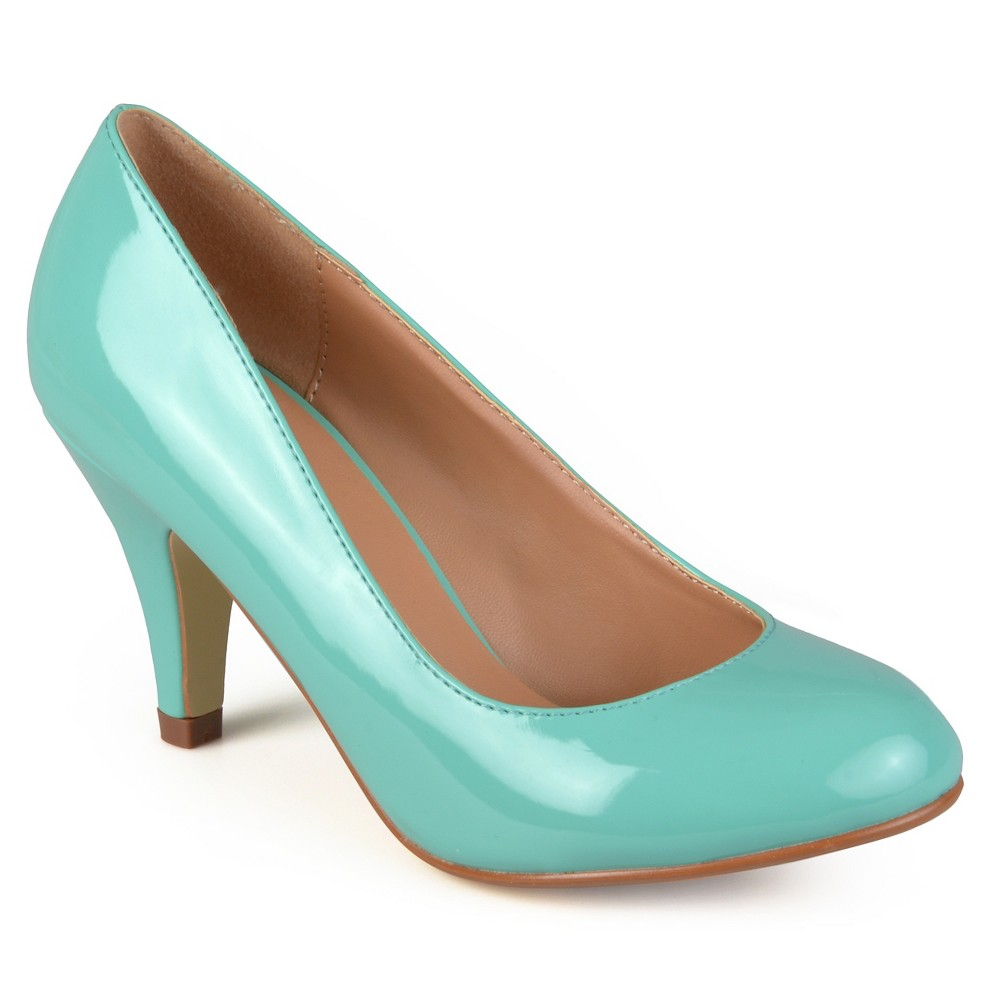 Womens Journee Collection Round Toe Patent Finish Pumps - Mint (Green) 8.5