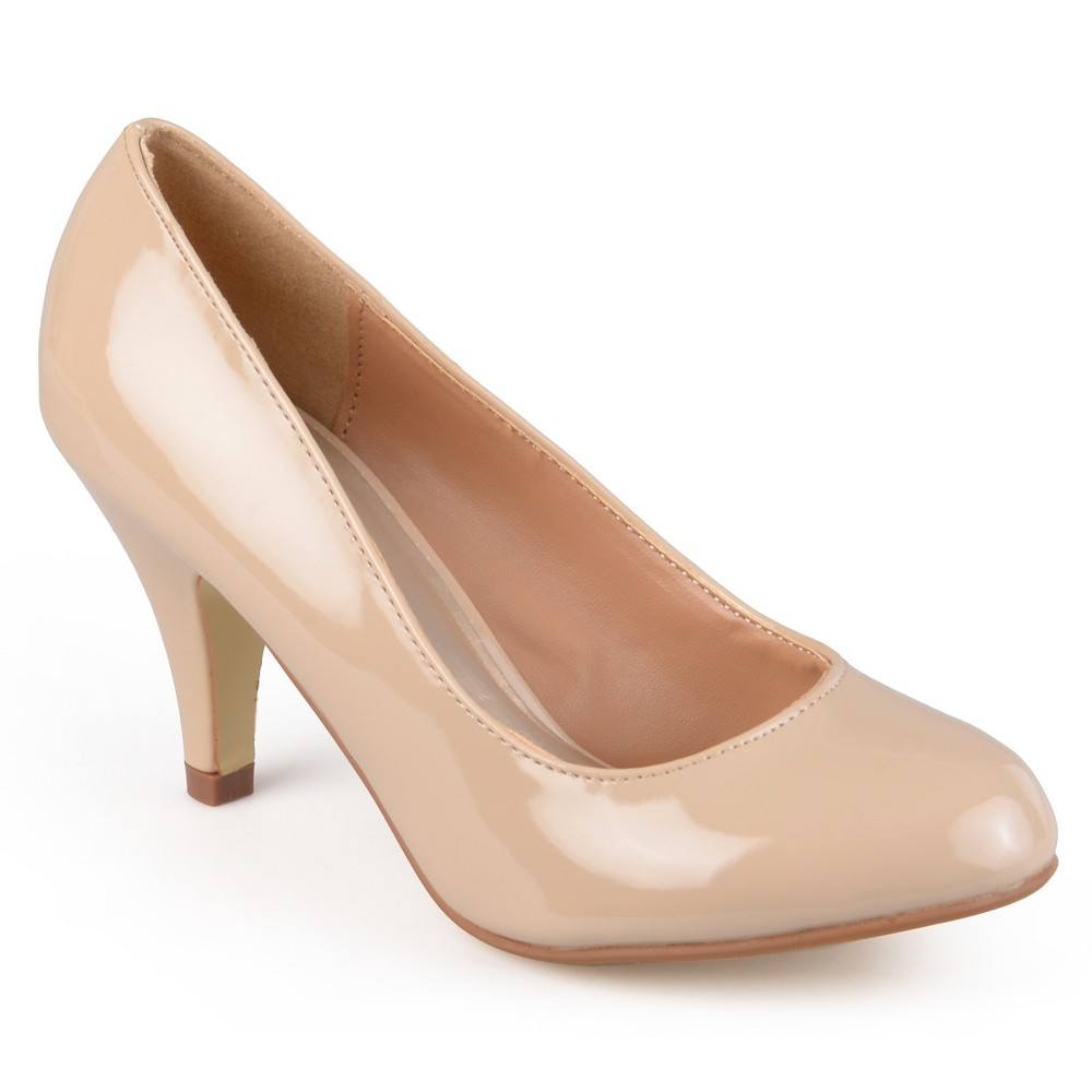Women's Journee Collection Round Toe Patent Finish Pumps - Nude 9