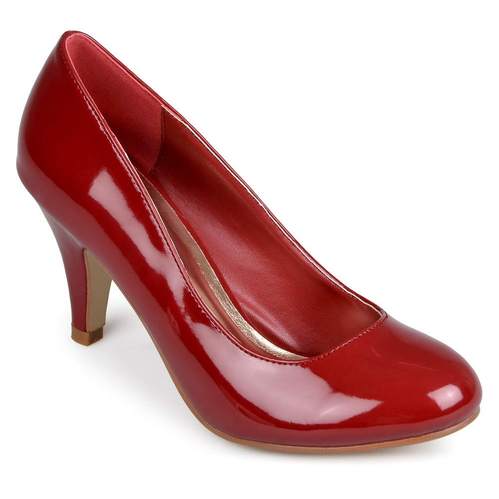 Womens Journee Collection Round Toe Patent Finish Pumps - Royal Burgundy 7.5