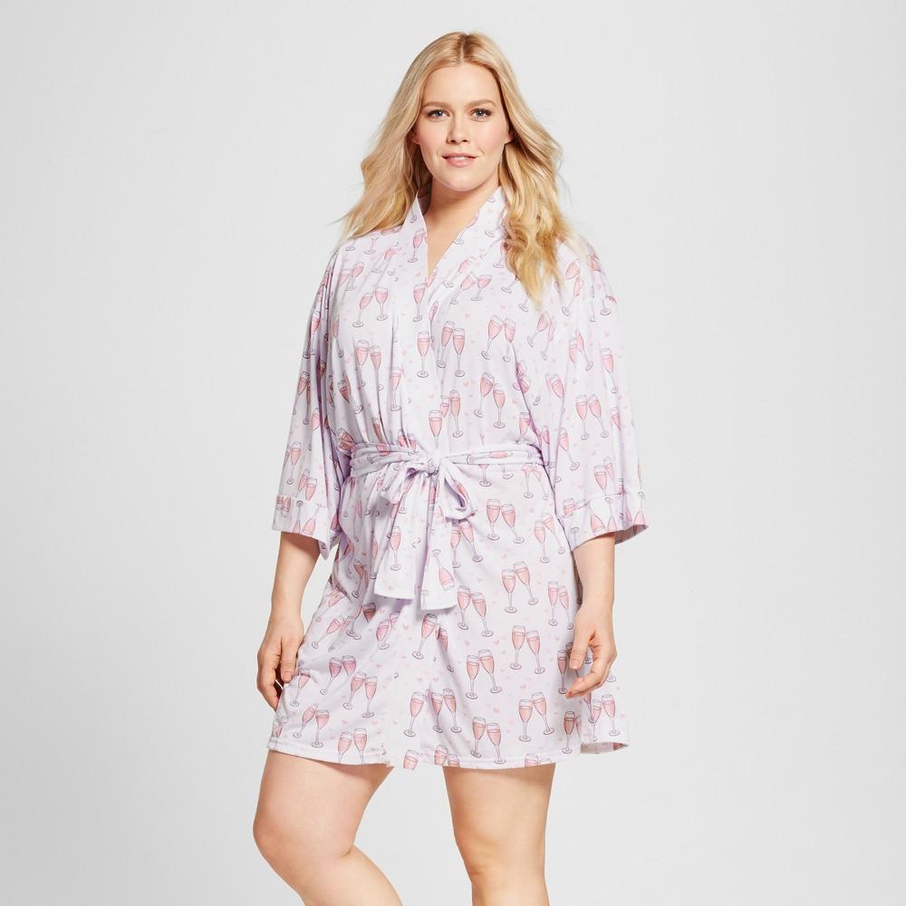 Bride & Beauties by Bedhead Pajamas Womens Plus Size Kimono Robe - Champagne Hearts - White 3X