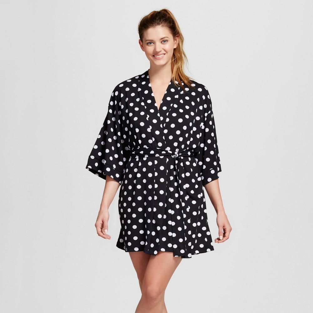 Bride & Beauties by Bedhead Pajamas Womens Kimono Robe - Polka Dot - Black/White S/M