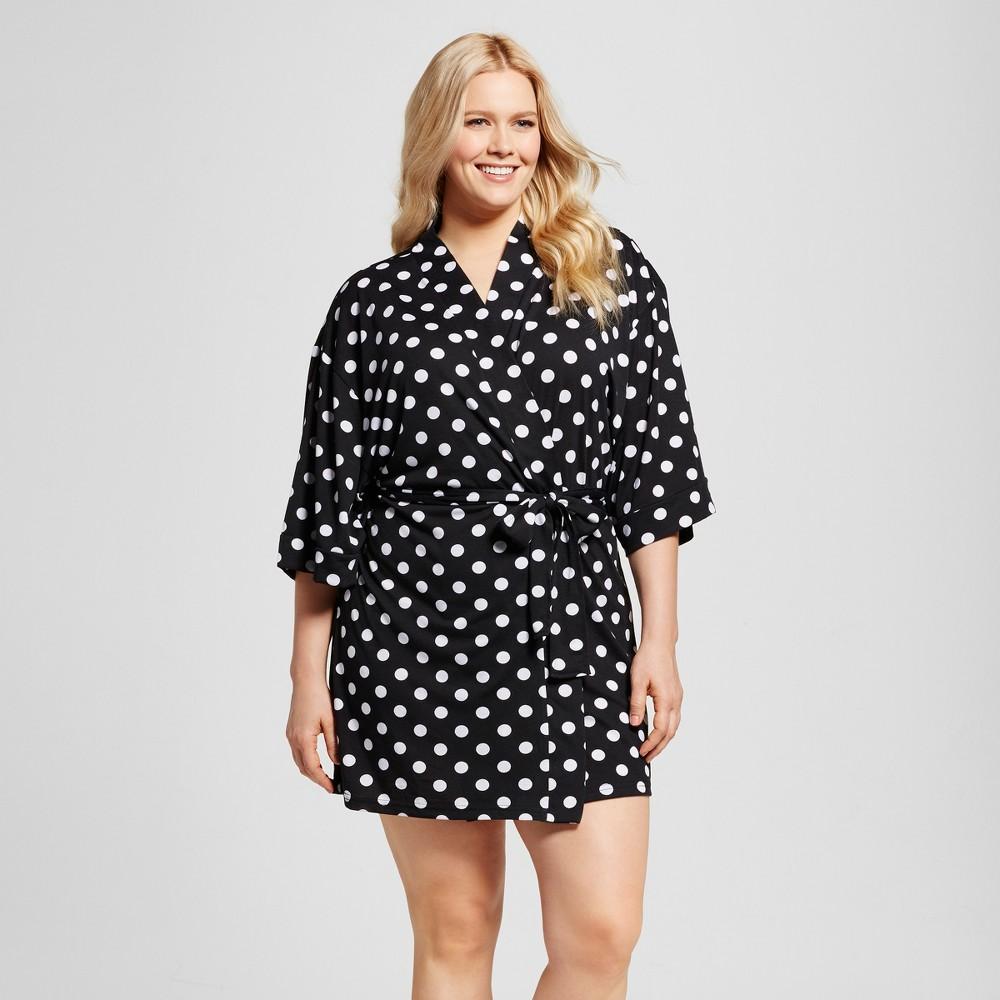 Bride & Beauties by Bedhead Pajamas Womens Plus Size Kimono Robe - Polka Dot - Black/White 2X