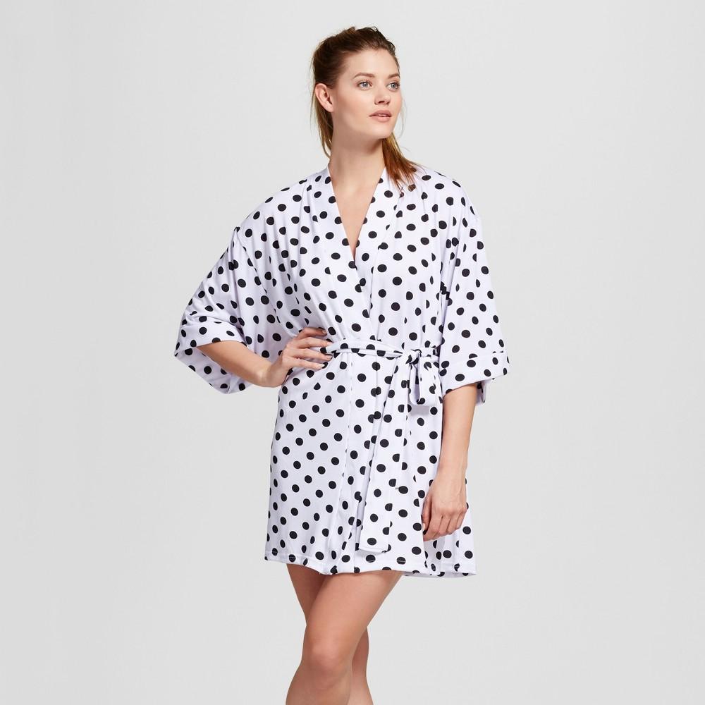 Bride & Beauties by Bedhead Pajamas Womens Kimono Robe - Polka Dot - White/Black L/XL