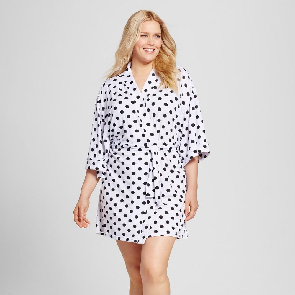 Bride & Beauties by Bedhead Pajamas Women's Plus Size Kimono Robe – Polka Dot – White/Black 2X
