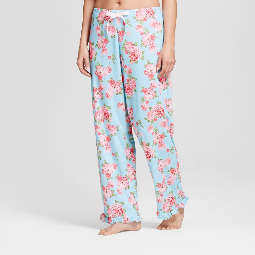 Bride & Beauties by Bedhead Pajamas Womens Cabbage Rose Long Ruffle Pajama Pants - Blue XS
