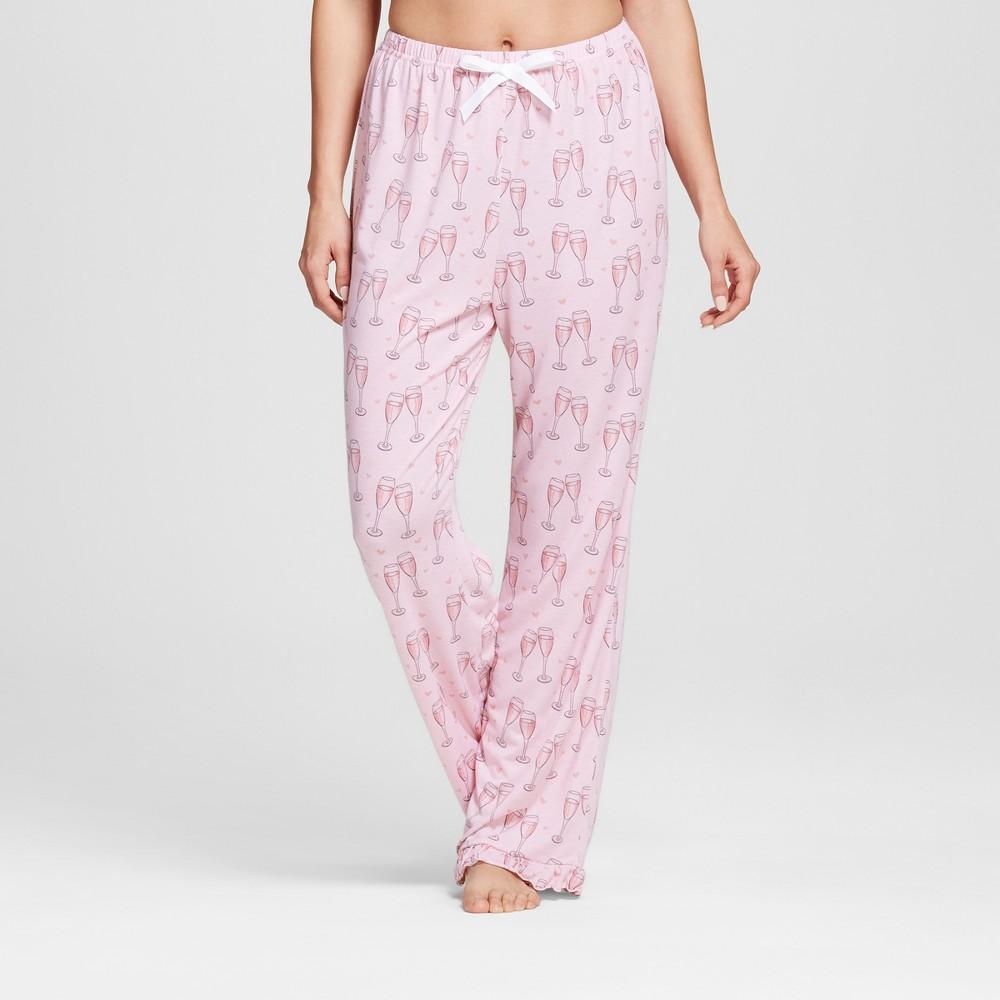 Bride & Beauties by Bedhead Pajamas Womens Long Ruffle Pajama Pants - Champagne Hearts - Pink XL