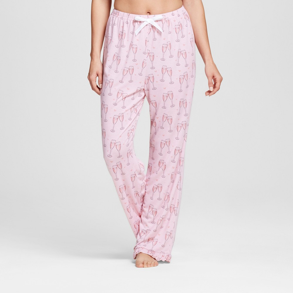 Bride & Beauties by Bedhead Pajamas Womens Long Ruffle Pajama Pants - Champagne Hearts - Pink M