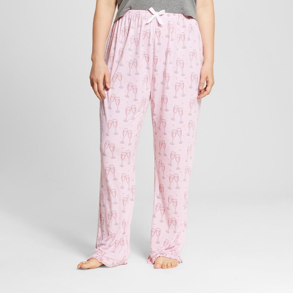 Bride & Beauties by Bedhead Pajamas Womens Plus Size Long Ruffle Pajama Pants - Champagne Hearts - Pink 3X