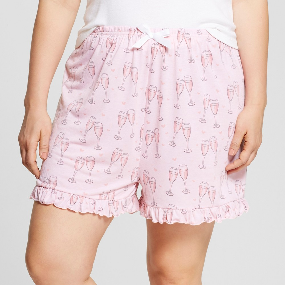 Bride & Beauties by Bedhead Pajamas Womens Plus Size Ruffle Pajama Shorts - Champagne Hearts - Pink 3X