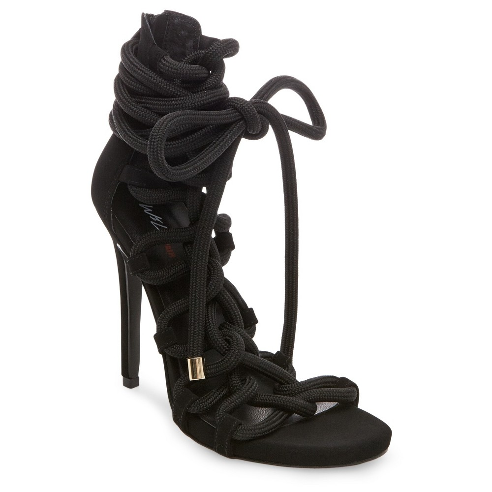 Womens Wild Pair Missme Knotted Tie Front Gladiator Sandals - Black 6