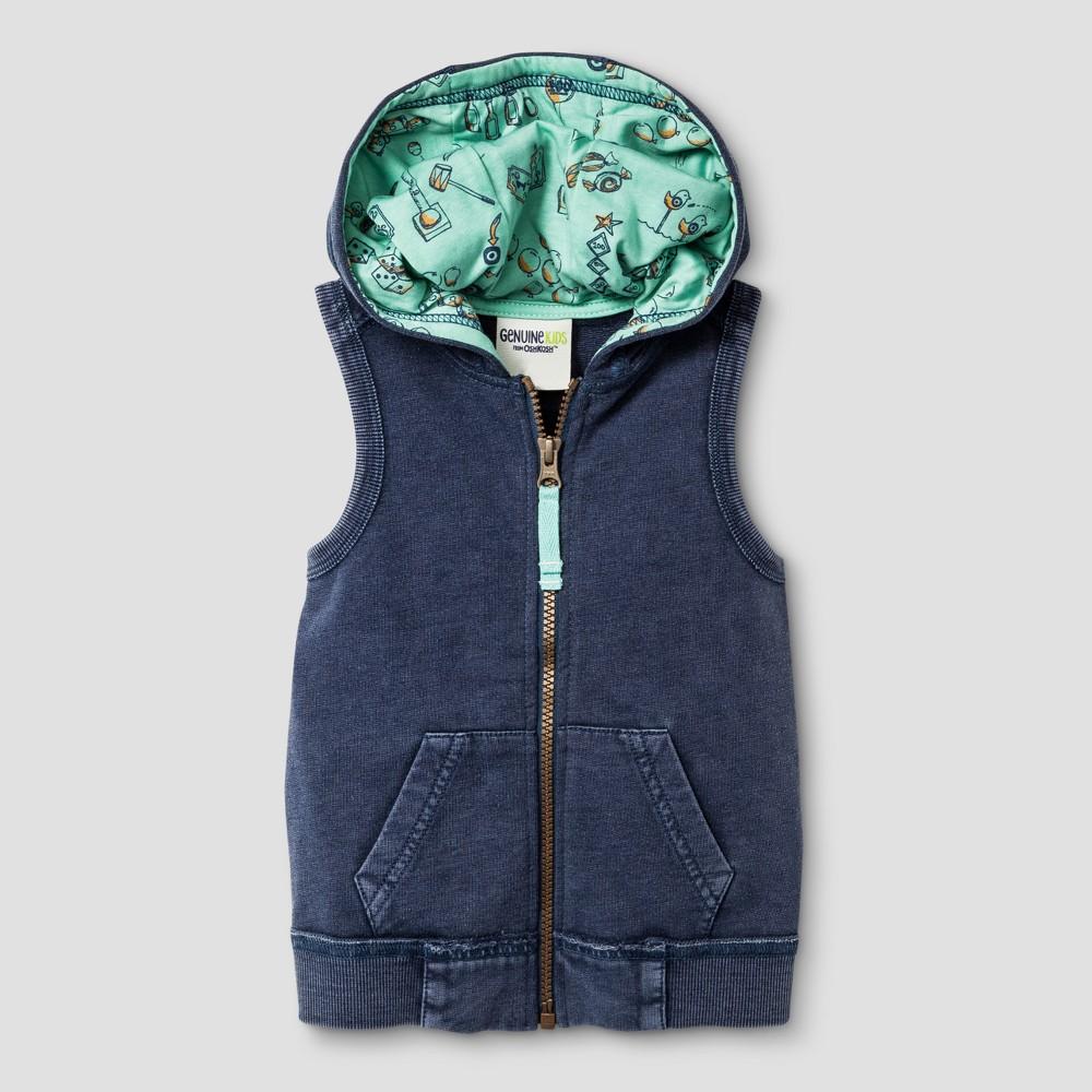 Toddler Boys Acid Wash Muscle Sweatshirt - Genuine Kids from OshKosh Metallic Blue 12M, Size: 12 M