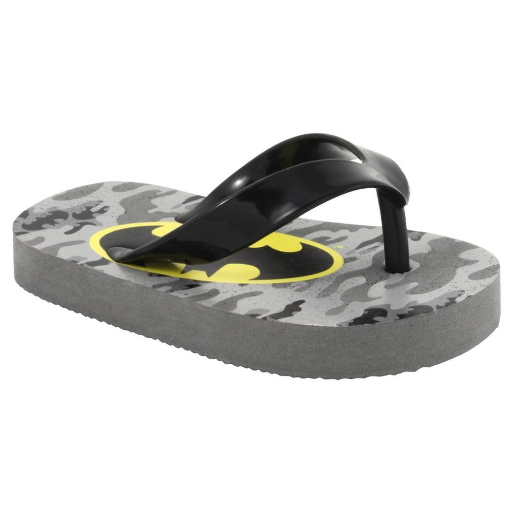 Batman Boys Flip Flop Sandals - Gray/Black 12, Black Gray