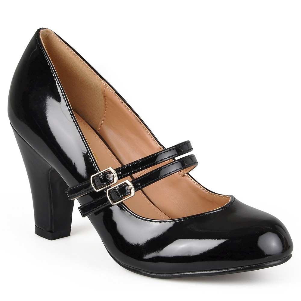 Womens Journee Collection Wide Width Mary Jane Faux Leather Pumps - Black 10W, Size: 10 Wide