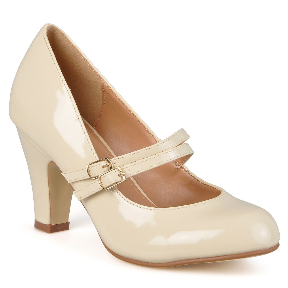 Womens Journee Collection Wide Width Mary Jane Faux Leather Pumps - Beige 8W, Size: 8 Wide